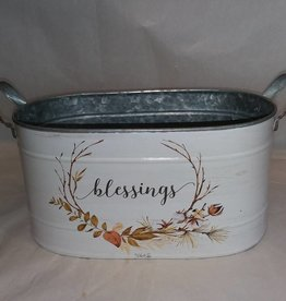 Galvanized Fall Planter, Blessing, Large