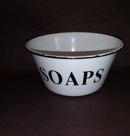 "Enamelware Soap Bowl, White w/Black Trim, 6"" Diameter"