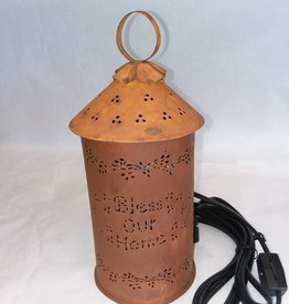 Bless Our Home Punched Tin Wax/Tart Warmer, Rust, Electric