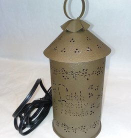 Faith,Family,Friends Punched Tin Wax/Tart Warmer, Green, Electric