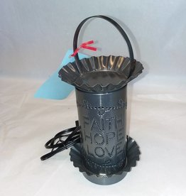 "Punched Tin Mini Tart Warmer, Electric, Faith, Hope, Love, 9"" Tall"
