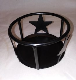 "Jar Candle Holder W/Stars,5""x3"""