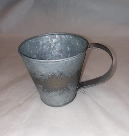 "Large Tin Candle Mug, 4"" Tall"