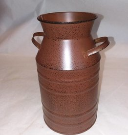 "Rust Colored Galvanized Reproduction Milk Can, 7"" Tall"