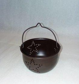 """Small Tin Cauldron w/ Stars, 3.5"""""""