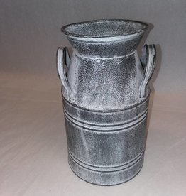 Gray Tin Milk Can, 9""