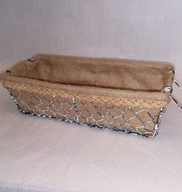 Burlap Lined Chicken Wire Basket w/2 Handles, 12.25x5.25x3.5""
