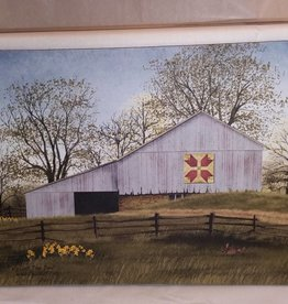 Tulip Quilt Block Barn Canvas, 16x12""