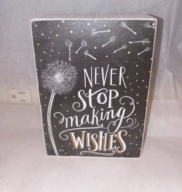 Never Stop Making Wishes Chalk Sign, 4x5.5""