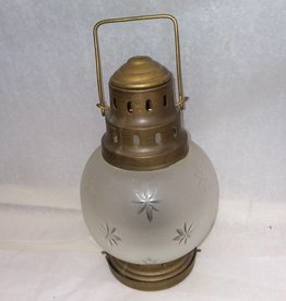 Brass & Etched Glass Lamp, c.1970