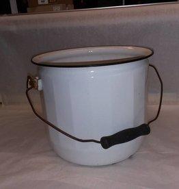 White Enamelware Chamber Pot, No Lid, c.1930