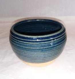 "Blue & Tan Pottery Planter, 5.75"" x 3.75"""