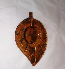 "Golden Yellow Leaf Shaped Votive Holder, 6 1/8""x 4 1/8"", c.1960"