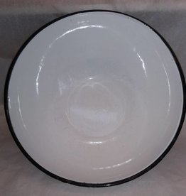 "White Enamelware Mixing Bowl, 13"" x 5.25"", c.1940"