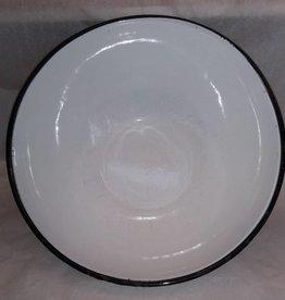 "White Enamelware Mixing Bowl, 13"" x 5.25"", c.1940"