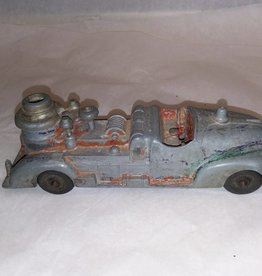 "Diecast Pumper Fire Truck, No Driver, Black Tires, to Restore, 7"", c.1950"