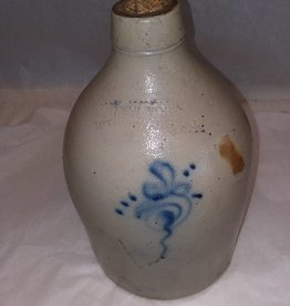 New York Stoneware Company Jug, Cobalt Flower, L.1800's, 1 Gallon