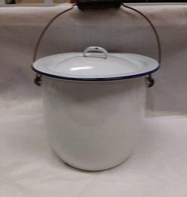 White Enamelware Chamber Pot w/Lid. c.1900
