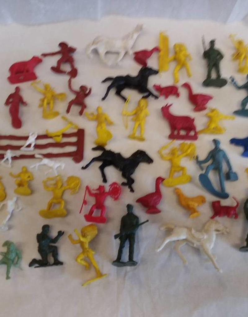 Mixed Lot of Plastic Toy Figures, 46 Pieces, 1950's-60's