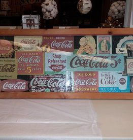 1993 Coca Cola Classic Ads Puzzle, Assembled & Framed Under Glass, 36x14