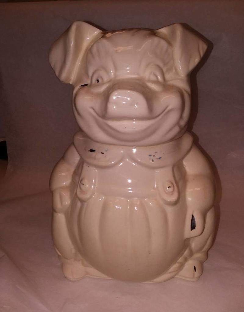 "Pig in Coveralls Cookie Jar, 11"" Tall, c.1950"