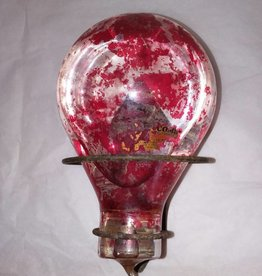 Red Comet Heat Activated Glass Fire Grenade, c.1920's w/Wall Bracket