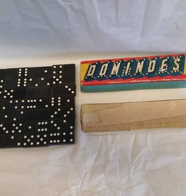 Dominoes by Halsam, Double-6 Wood, Only 27 in Box, c.1950