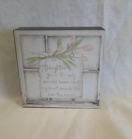 "Daughter Window Wall Box Sign, 6""x6""x1.5"""