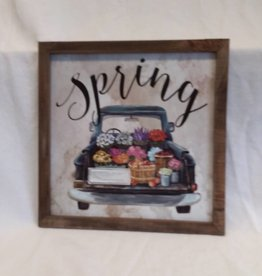 "Spring Flowers in Truck Wall Plaque, 13.5""x13.5"""