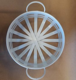 Tin White Round Basket, 8""