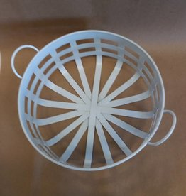Round Tin White Basket, 10""