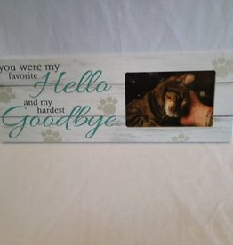 "Favorite Hello & Hardest Goodbye Picture Frame, 15.5""x5.5""x.75"""