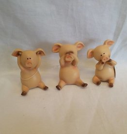 Hear No Evil, See No Evil, Speak No Evil Pigs, Set of 3
