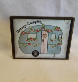 "Vintage Camping Wooden Block, 5.5""x4""x1"""