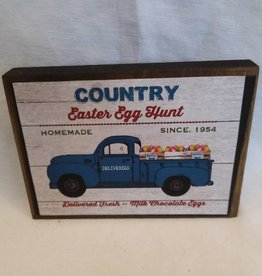 "Country Easter Egg Hunt Wooden Block Sigh, 5.5""x4""x1"""
