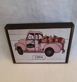 "Vintage Pink Truck Full of Flowers Block Sign, 5.5""x4""x1"""