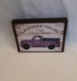 "Lavender Fields Truck Block Sign, 5.5""x4""x1"""
