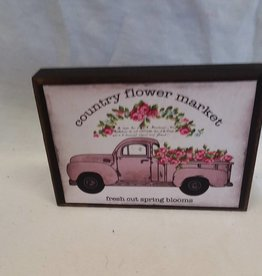 "Country Flower Market Truck Sign, 5.5""x4""x1"""
