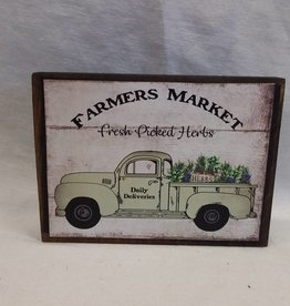 "Farmer's Market-Fresh Picked Herbs Block Sign, 5.5""x4""x1"""