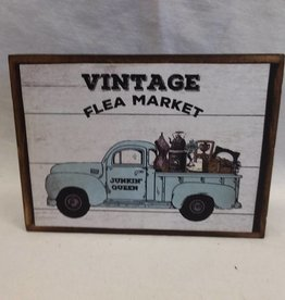 "Vintage Flea Market Block Sign, 5.5""x4""x1"""