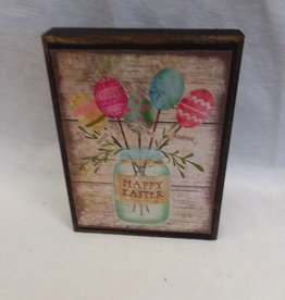 "Happy Easter Mason Jar Block Sign, 5.5""x4""x1"""