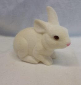 "White Crouching Bunny, 6.5"" long"
