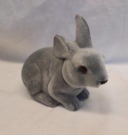 "Gray Crouching Bunny, 7"" long"