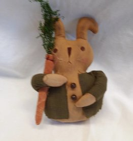 "Standing Stuffed Bunny-Green Jacket,8"" tall"