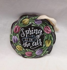"Spring Is In The Air Hanging Sign w/Tulips, 7""x7""x1/2"""