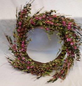 "Pink Flowers w/Greens Wreath, 17"""