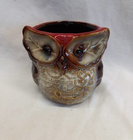 "Ceramic Owl Planter, 4""x4"""