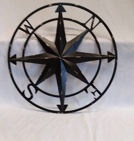 Black Metal Compass Wall Hanging, 20""