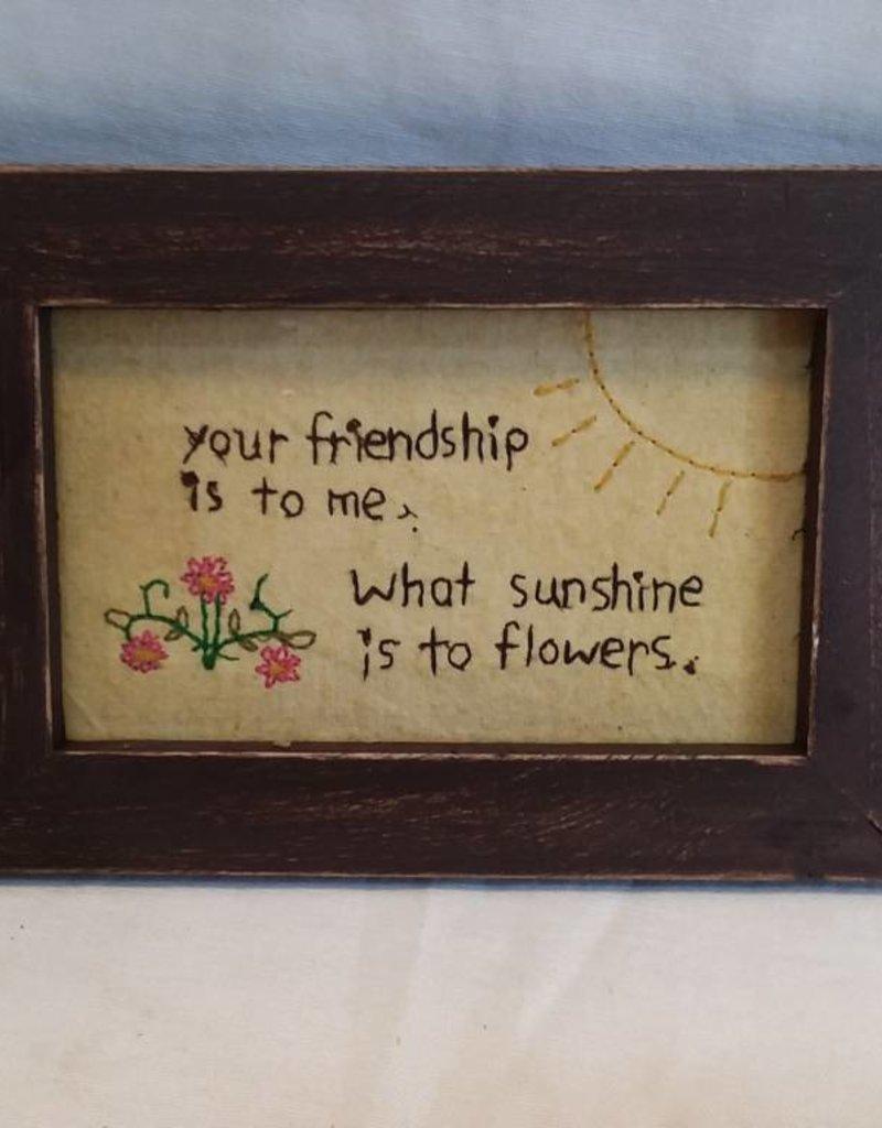 """Your Friendship Stitchery, 7.5""""x5.75""""x.75"""""""