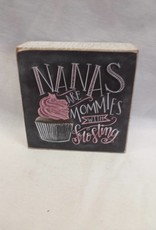 "Nanas...Chalk Sign, 4""x4""x1.75"""